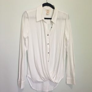 Sundance Twisted Front  Button Down  Sleeves Shirt